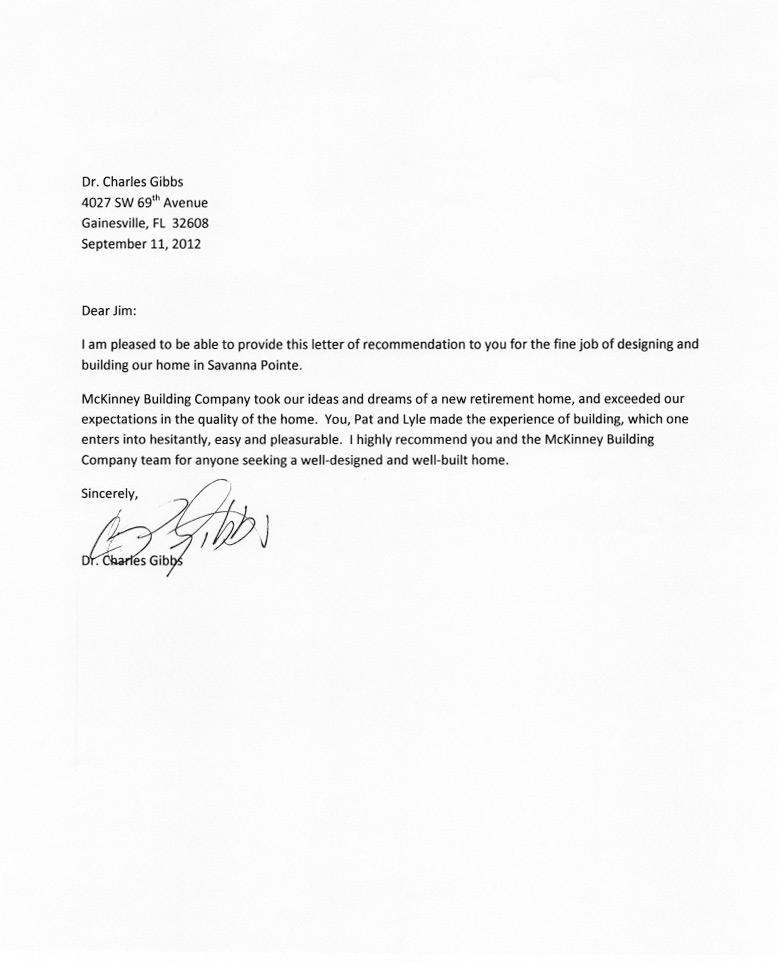 letter of recommendation for a job mckinney building company building quality custom homes 23032 | Charles Gibbs Testimonial